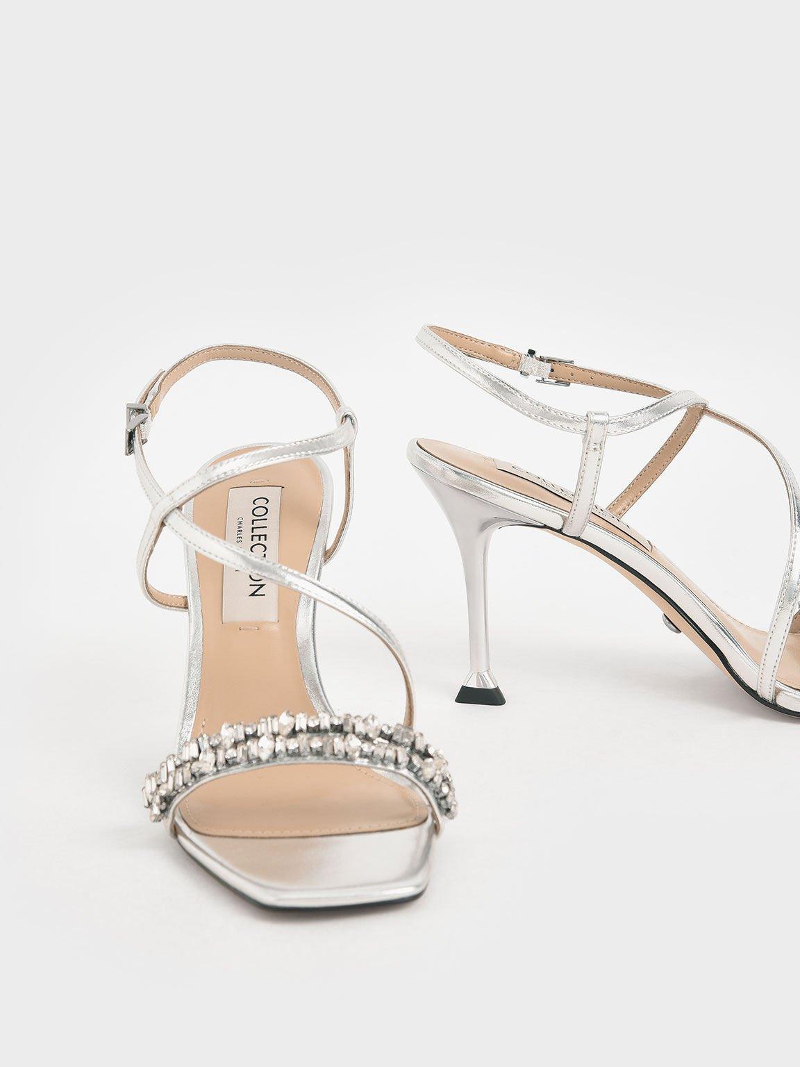 婚禮系列:寶石帶繞踝細跟涼鞋, 銀色, hi-res
