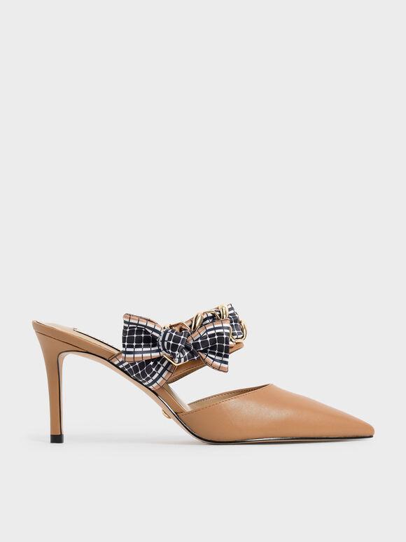 浪漫編織真皮高跟鞋, 焦糖色, hi-res