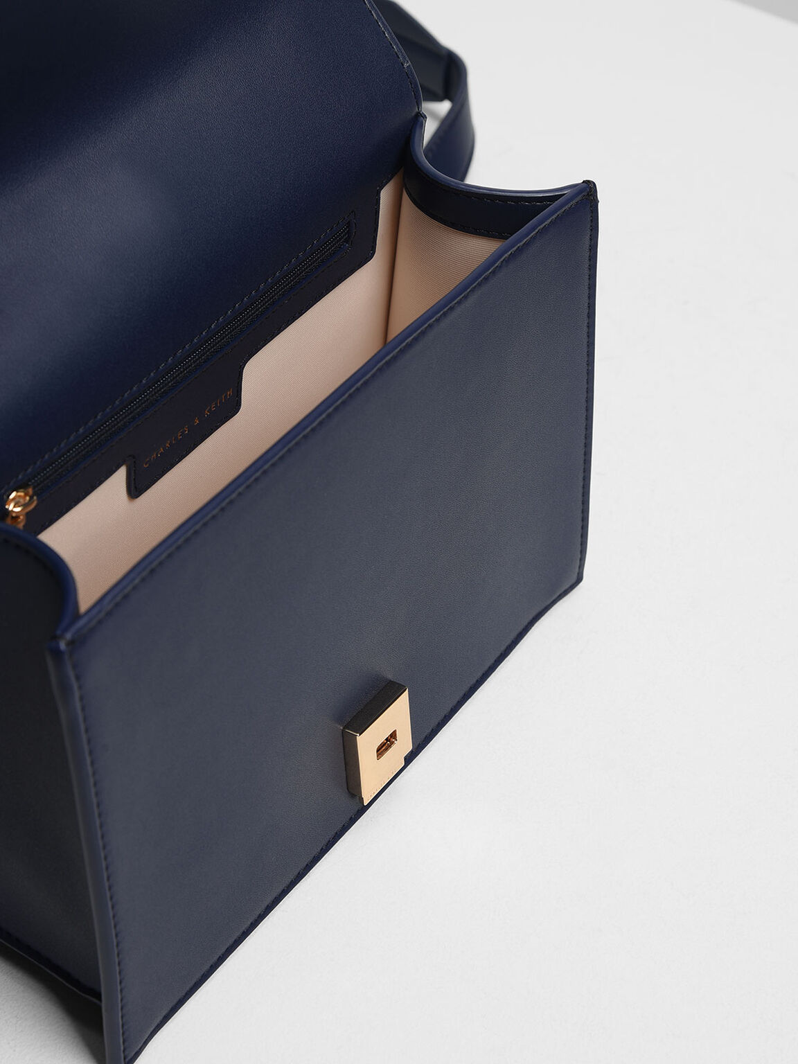 Knot Detail Handle Bag, Dark Blue, hi-res