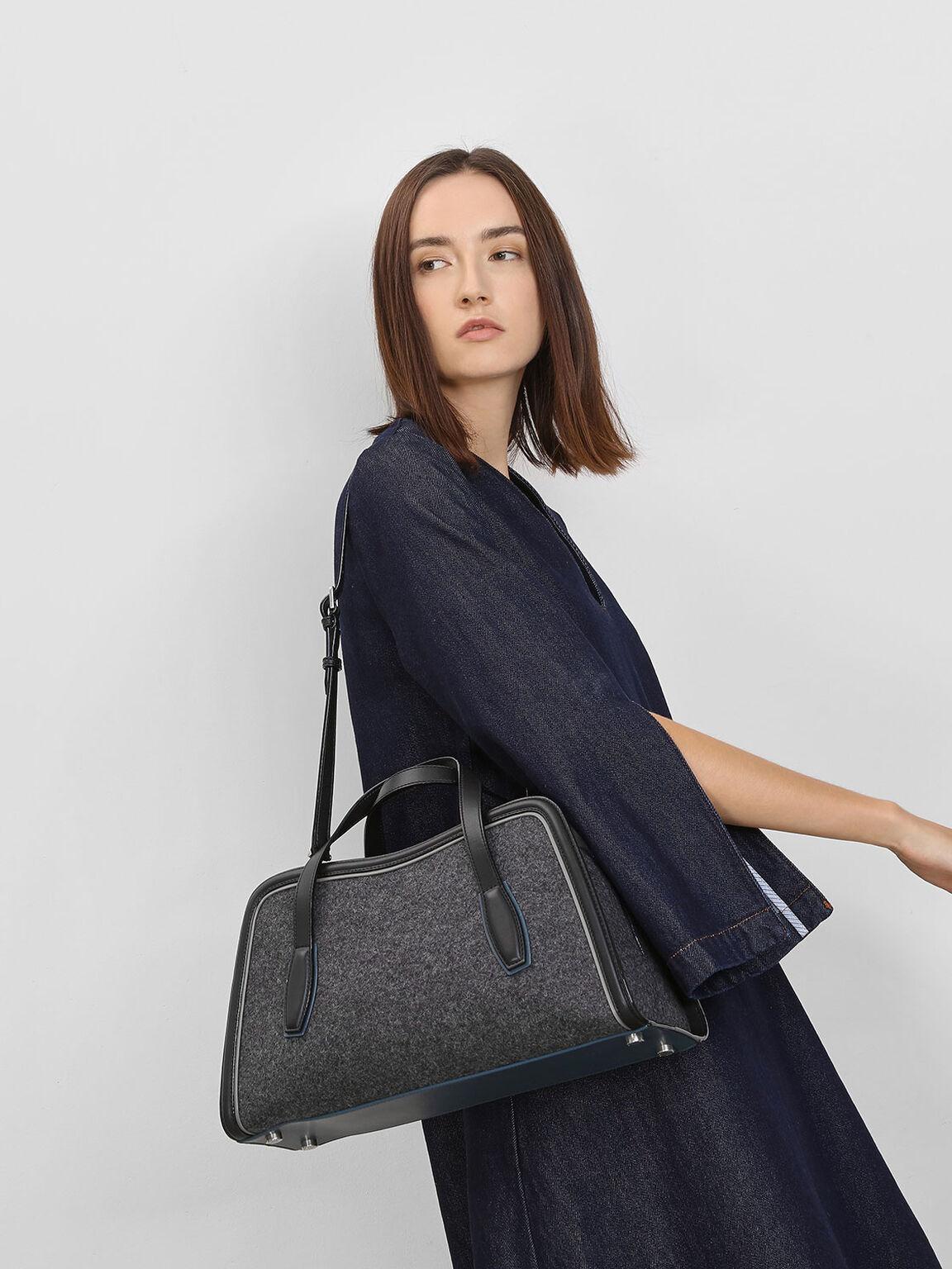 Oversized Landscape Tote Bag, Grey, hi-res