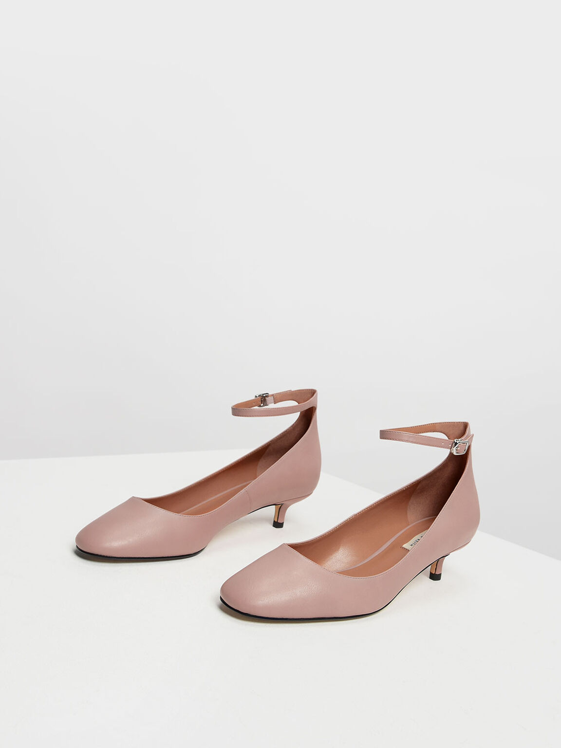 Round Toe Ankle Strap Pumps, Blush, hi-res