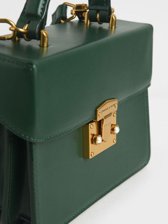 Metallic Push-Lock Handbag, Green, hi-res