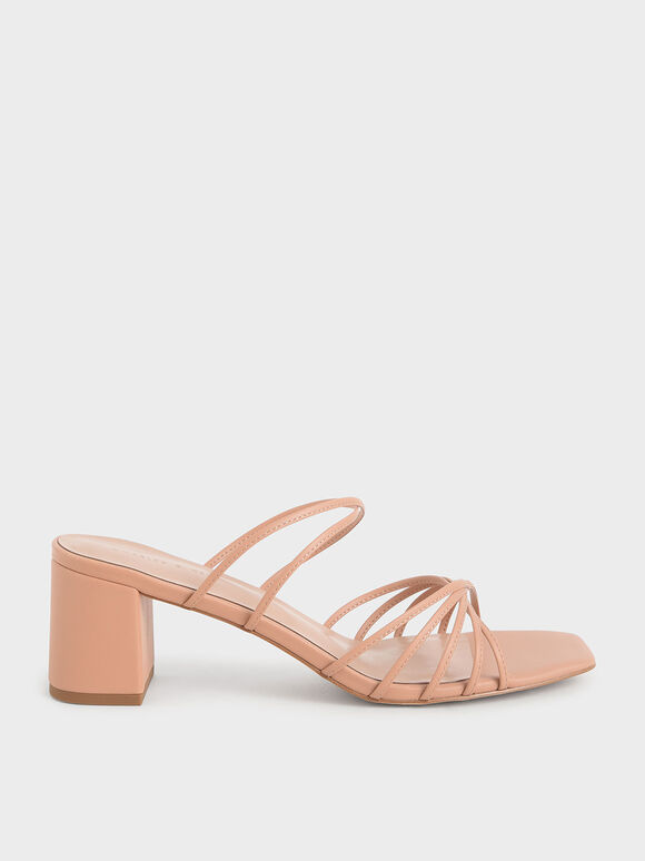 細帶扭結拖鞋, 膚色, hi-res