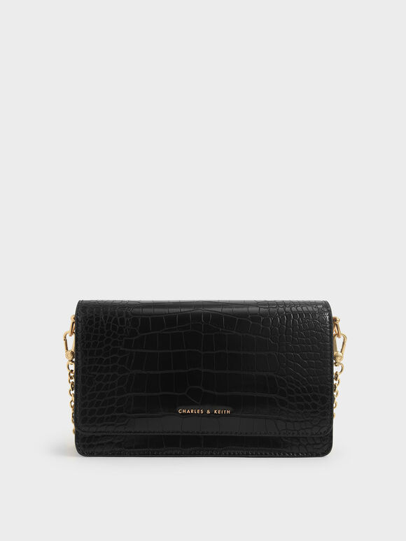 Croc-Effect Clutch, Black, hi-res