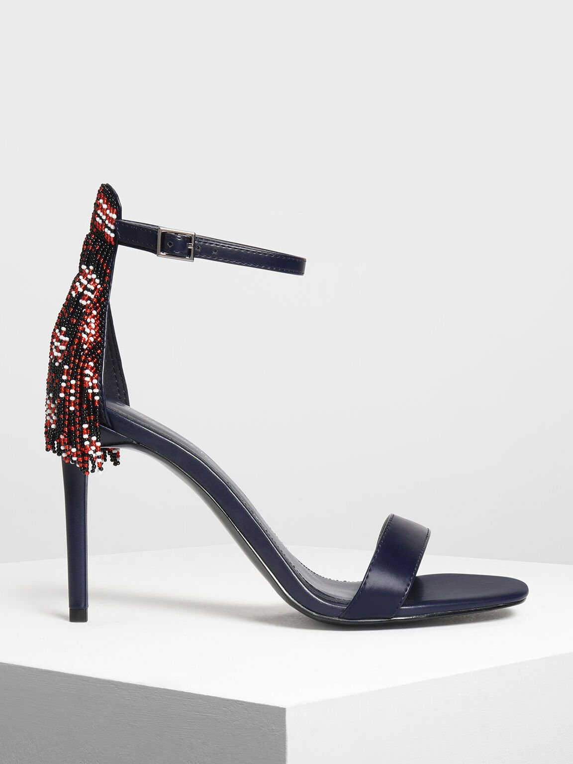 Beaded Fringe Heeled Sandals, Dark Blue, hi-res