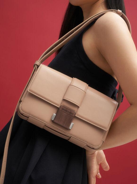 Front Flap Push Lock Crossbody Bag, Tan, hi-res