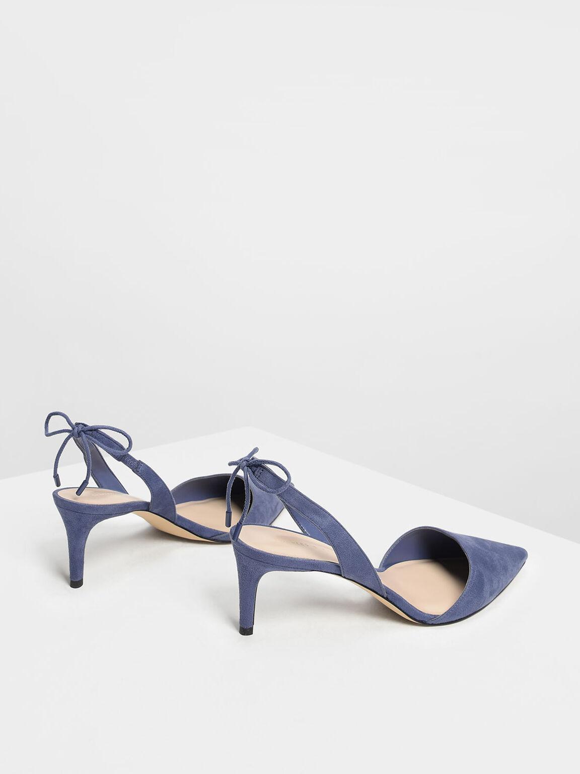 Tie Back Suede Slingback Heels, Dark Blue, hi-res