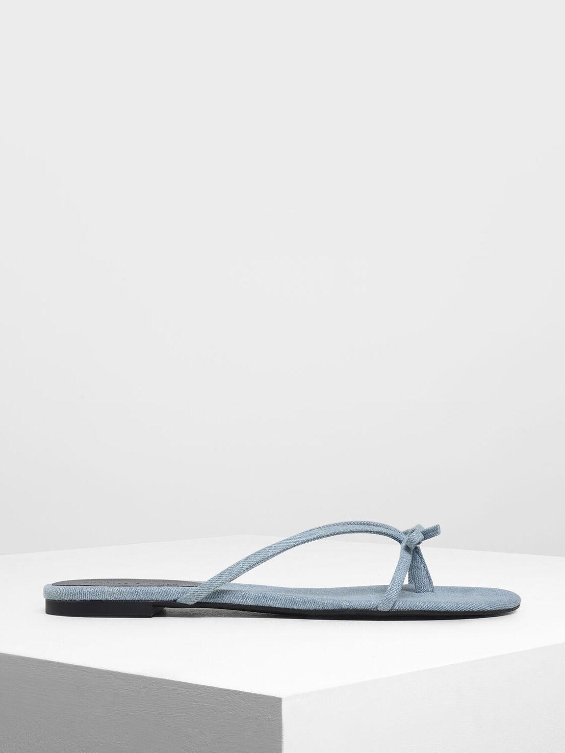 迷你蝴蝶結拖鞋, 淺藍色, hi-res