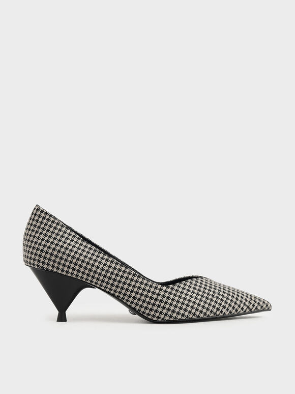 Houndstooth Print Cone Heel Pumps, Multi, hi-res