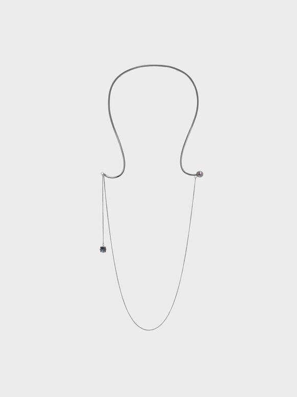Crystal Charm Necklace, Black, hi-res