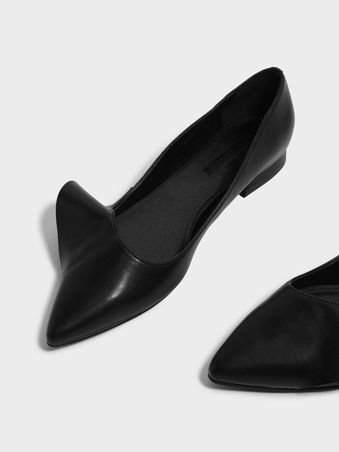 Ruffle Detail Pointed Flats, Black, hi-res