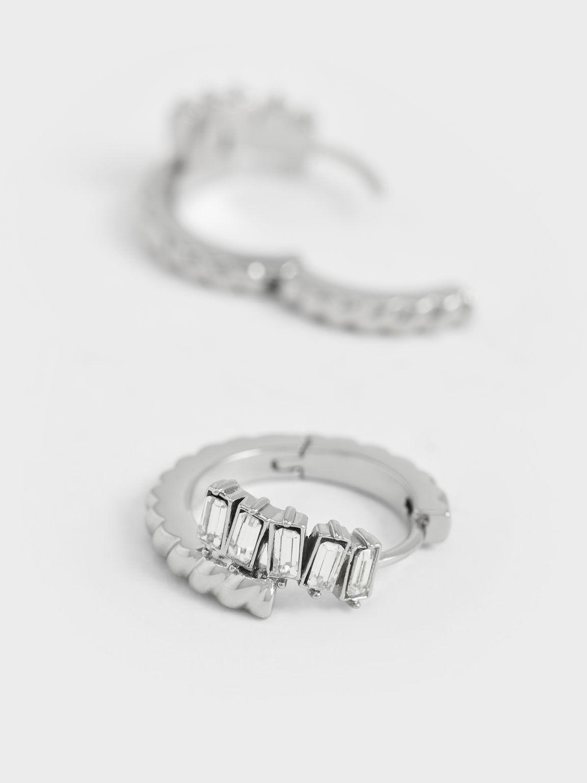 Swarovski® Crystal Embellished Huggie Hoop Earrings, Silver, hi-res
