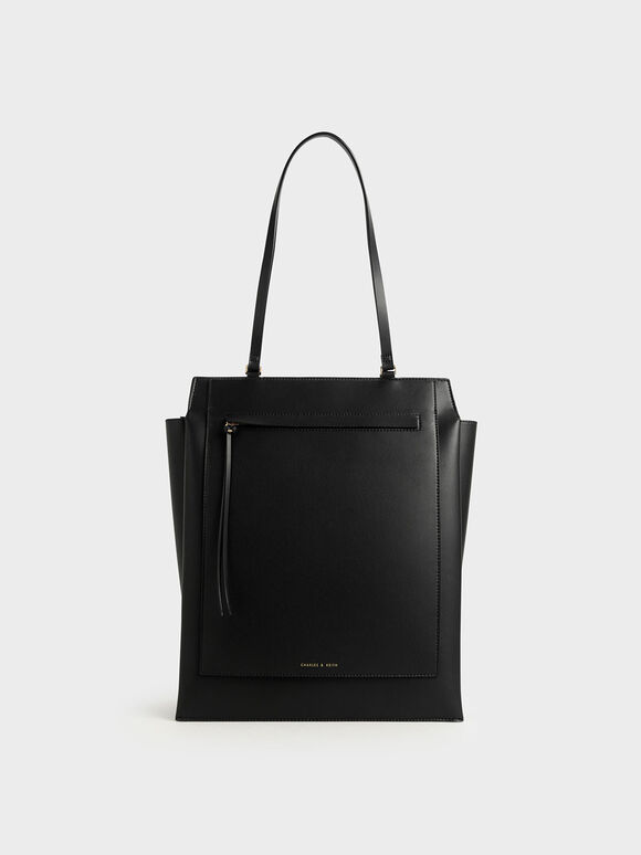 Large Trapeze Tote, Black, hi-res