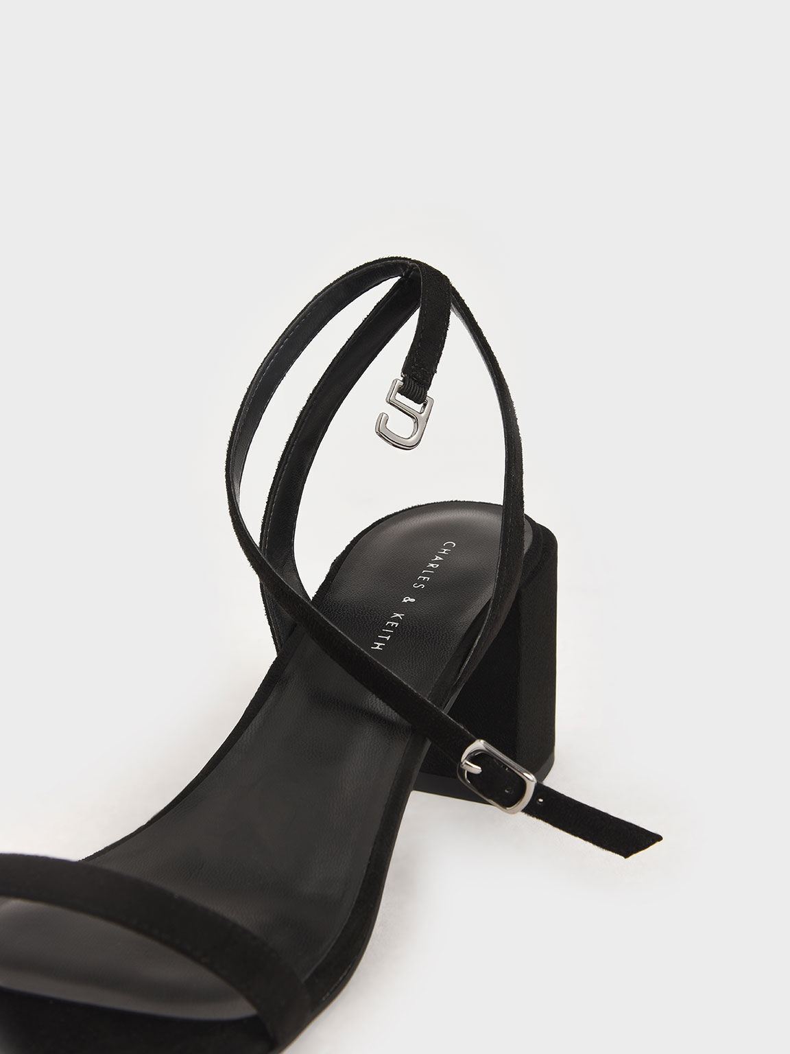 Ankle Strap Block Heel Sandals, Black, hi-res
