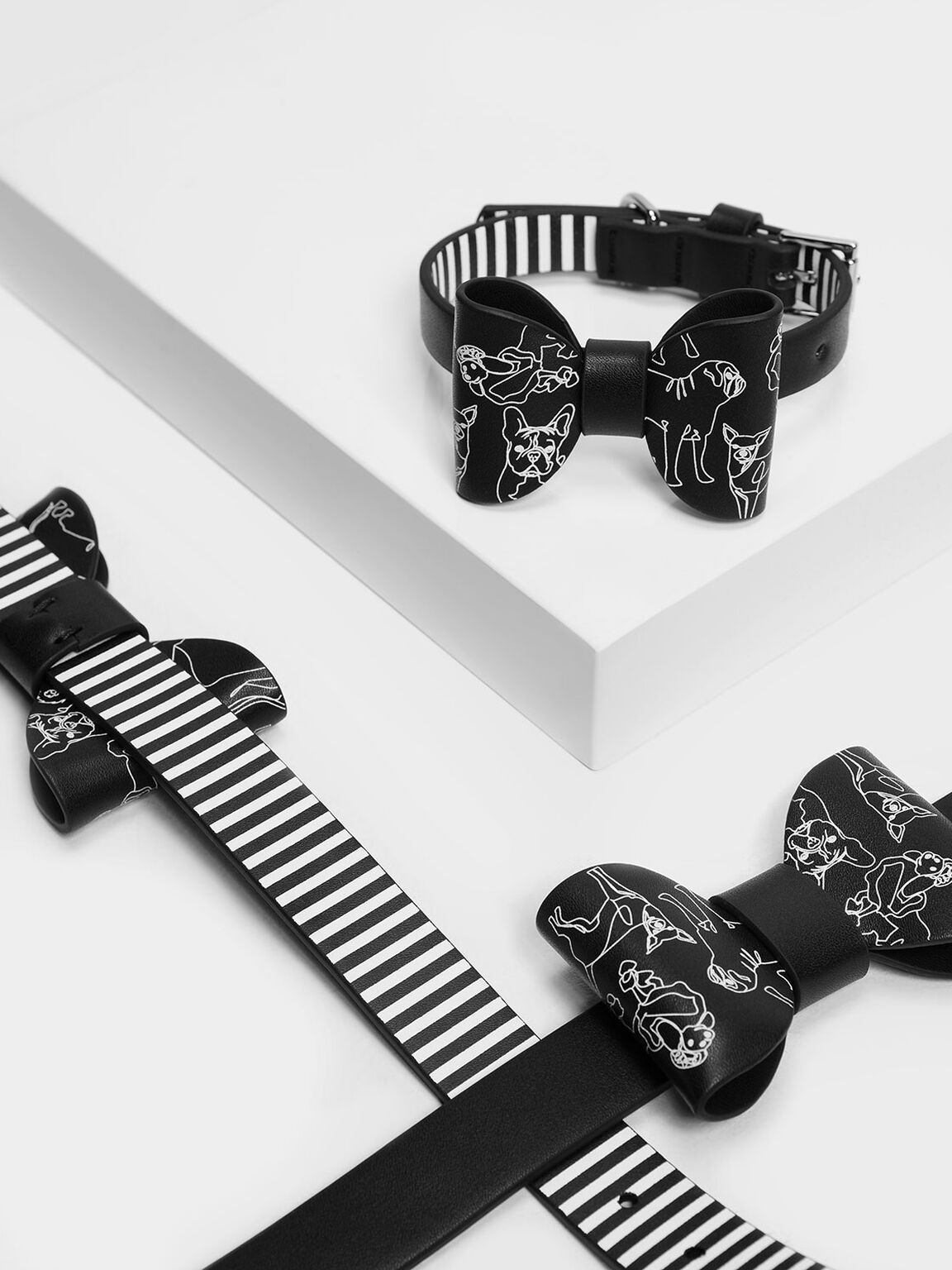 Printed Pet Collar, Black, hi-res
