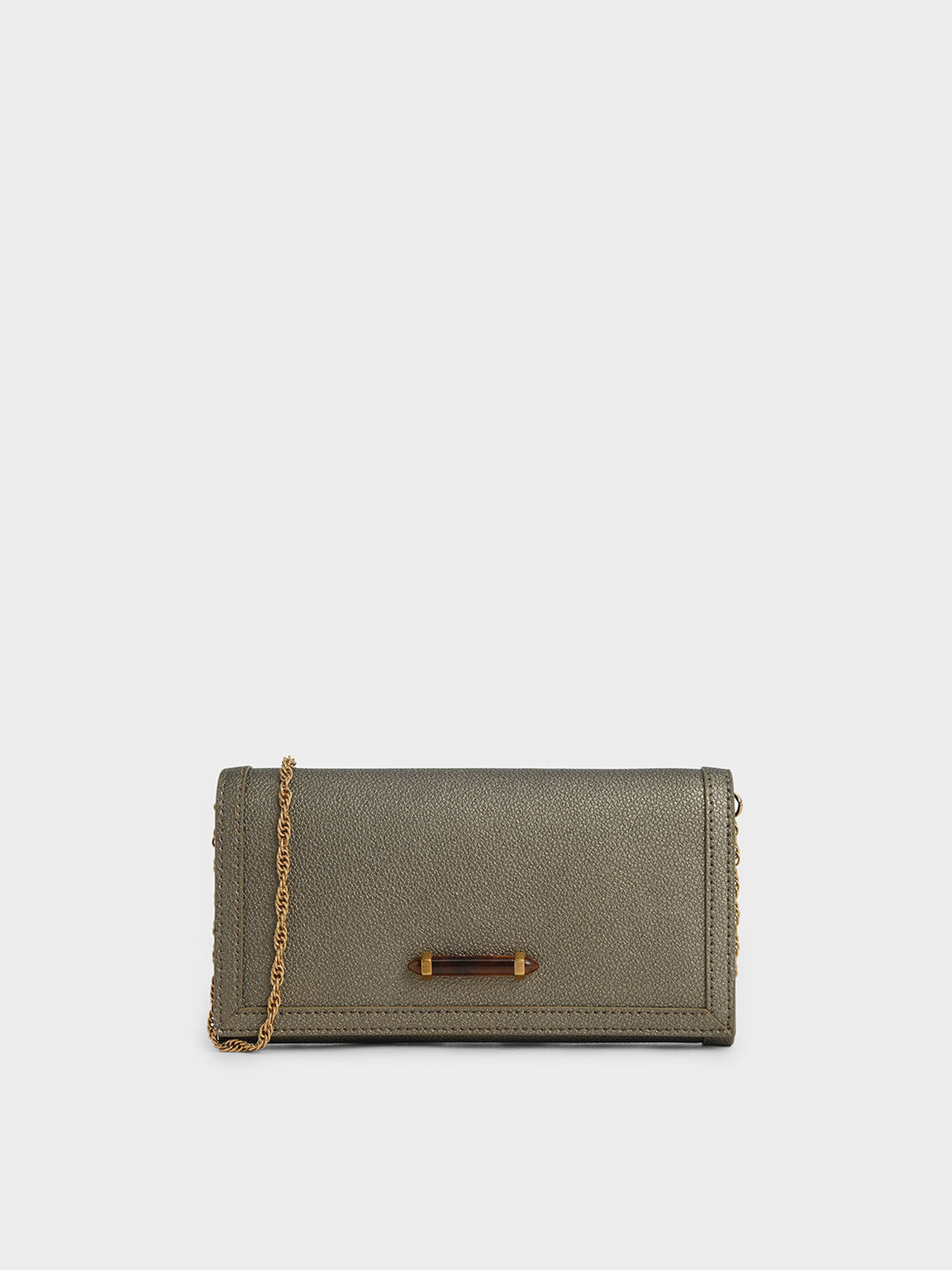 Stone-Embellished Front Flap Long Wallet, Bronze, hi-res