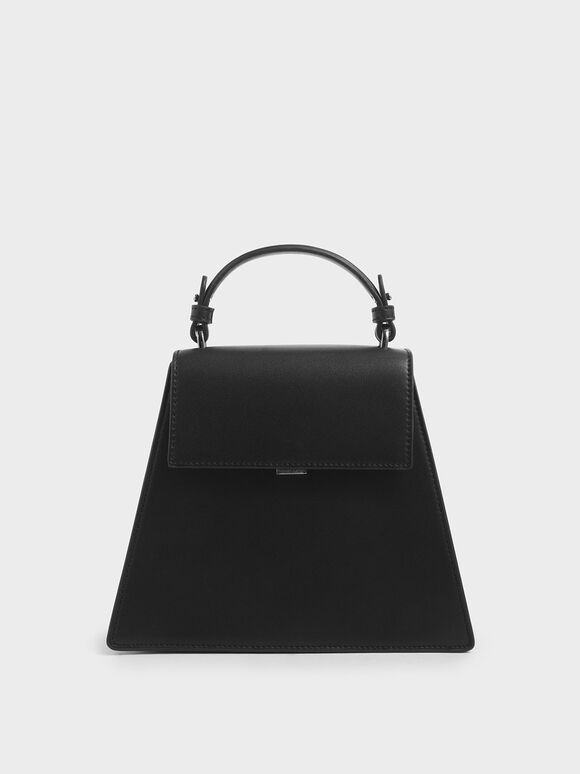 Angular Top Handle Bag, Black, hi-res