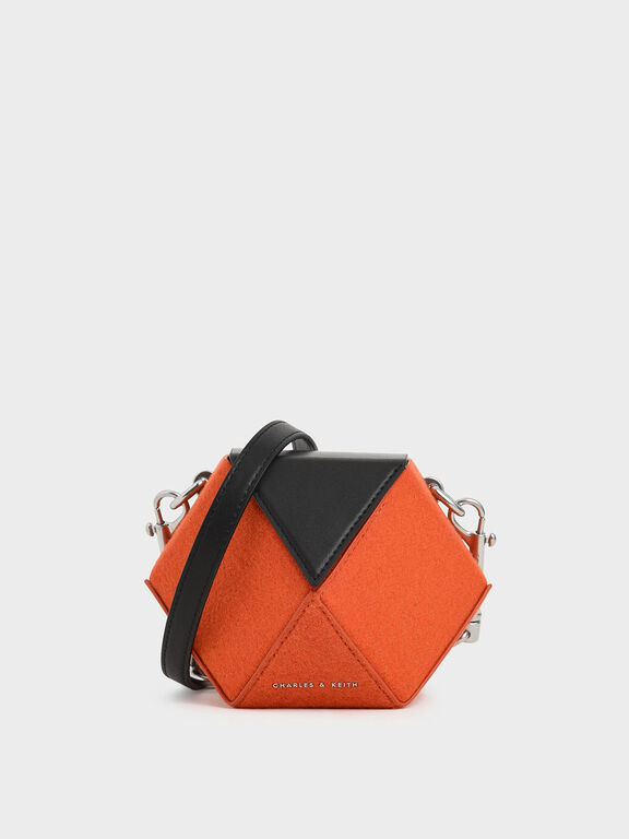 Two-Tone Chunky Chain Handle Hexagon Clutch, Orange