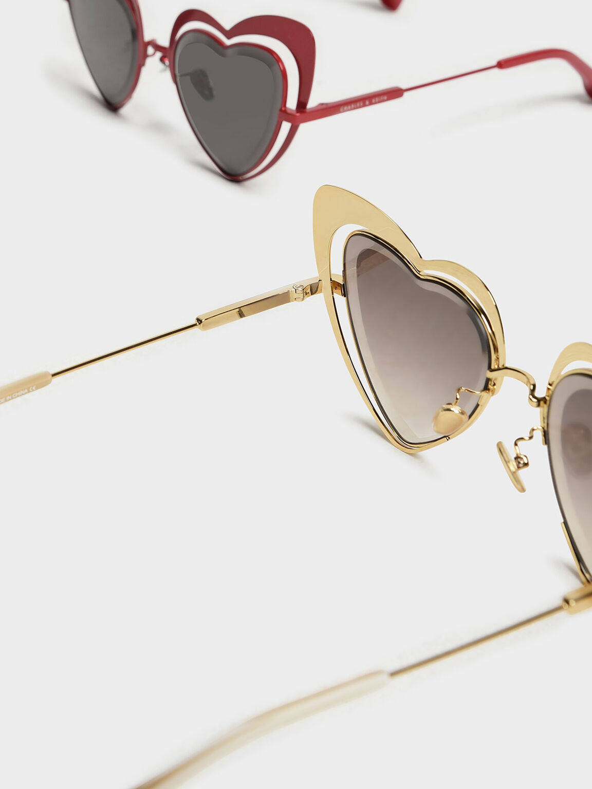 Heart-Shaped Sunglasses, Gold, hi-res