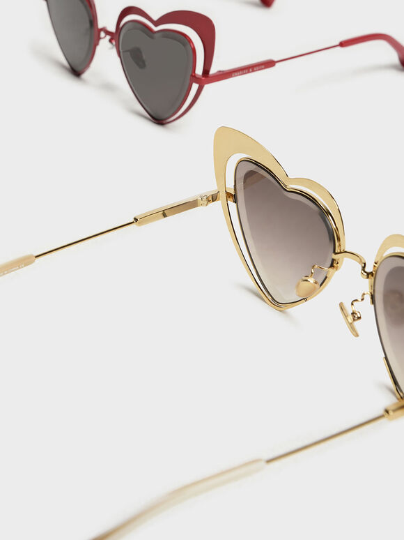 Heart-Shaped Sunglasses, Gold, hi-res