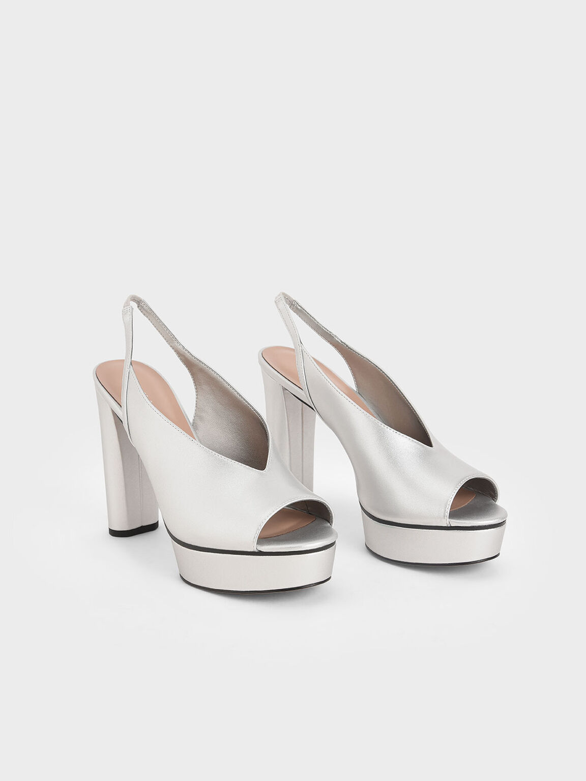 Metallic V-Cut Slingback Platforms, Silver, hi-res