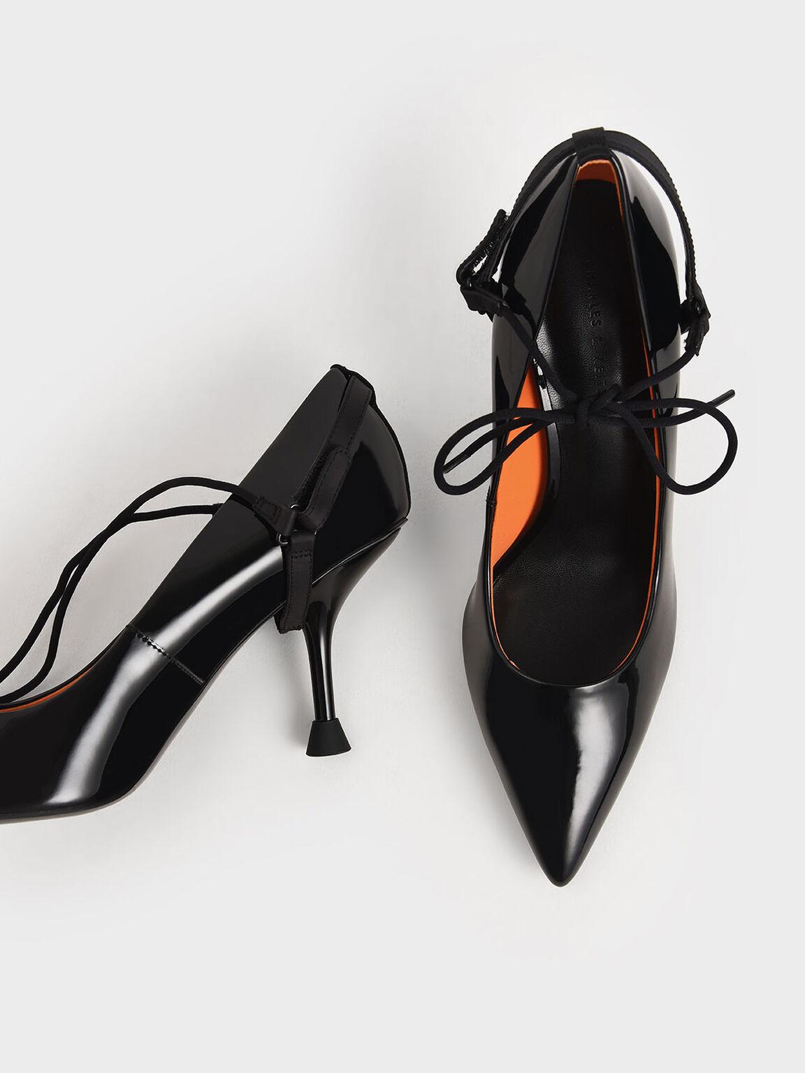 Patent Ankle-Tie Court Shoes, Black, hi-res