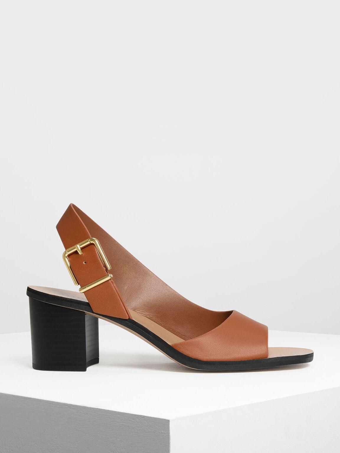 Buckled Slingback Heels, Brown, hi-res