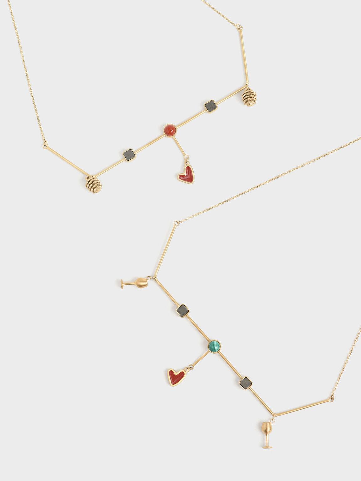 紅碧玉寶石項鍊, 金色, hi-res