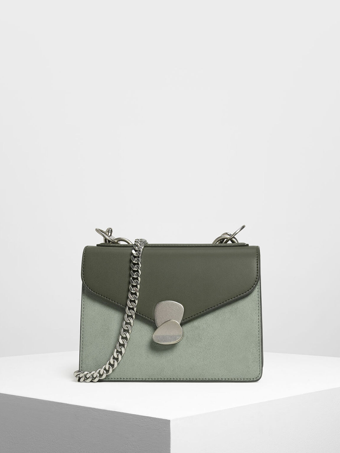 Metal Detail Front Flap Bag, Sage Green, hi-res