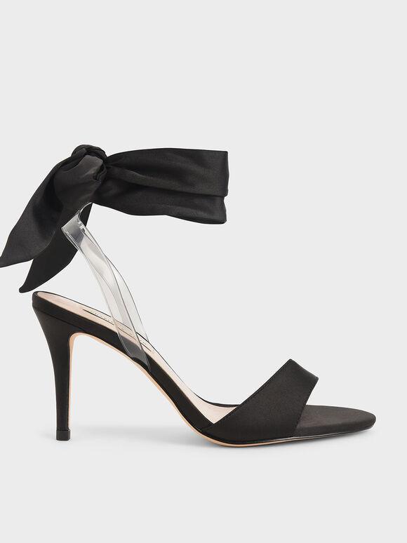 Satin Ribbon Ankle-Tie Sandals, Black, hi-res