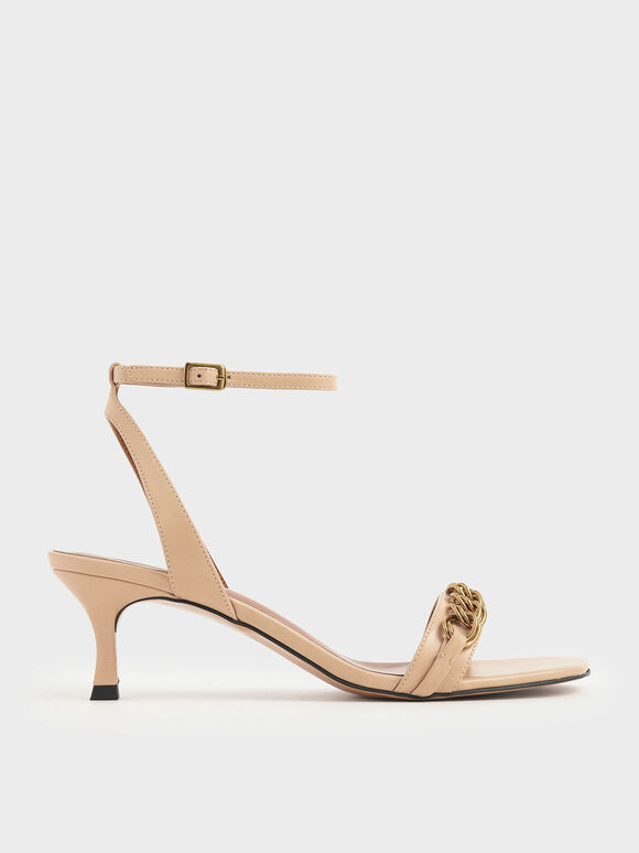 Chain Link Kitten Heel Sandals, Beige, hi-res