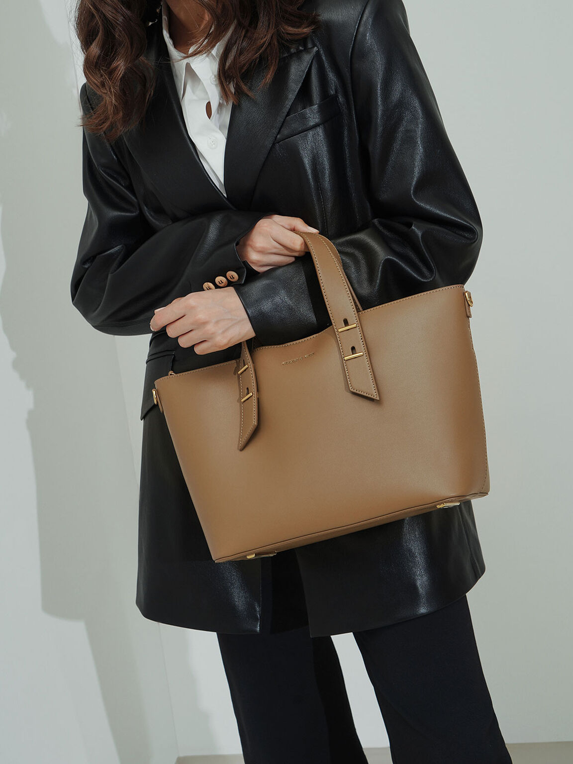 Double Handle Slouchy Bag, Khaki, hi-res