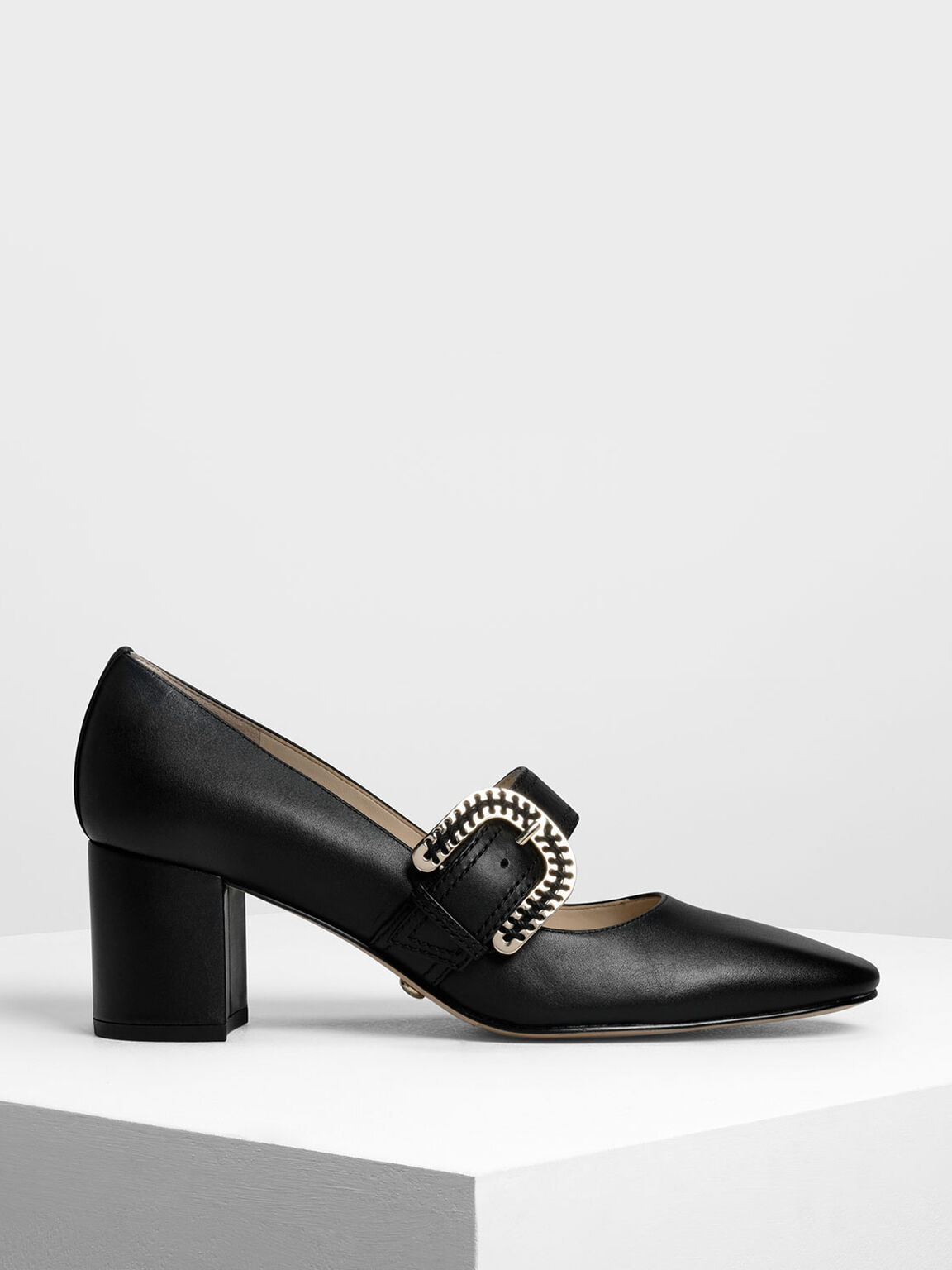Leather Stitch Detail Buckle Mary Jane Heels, Black, hi-res
