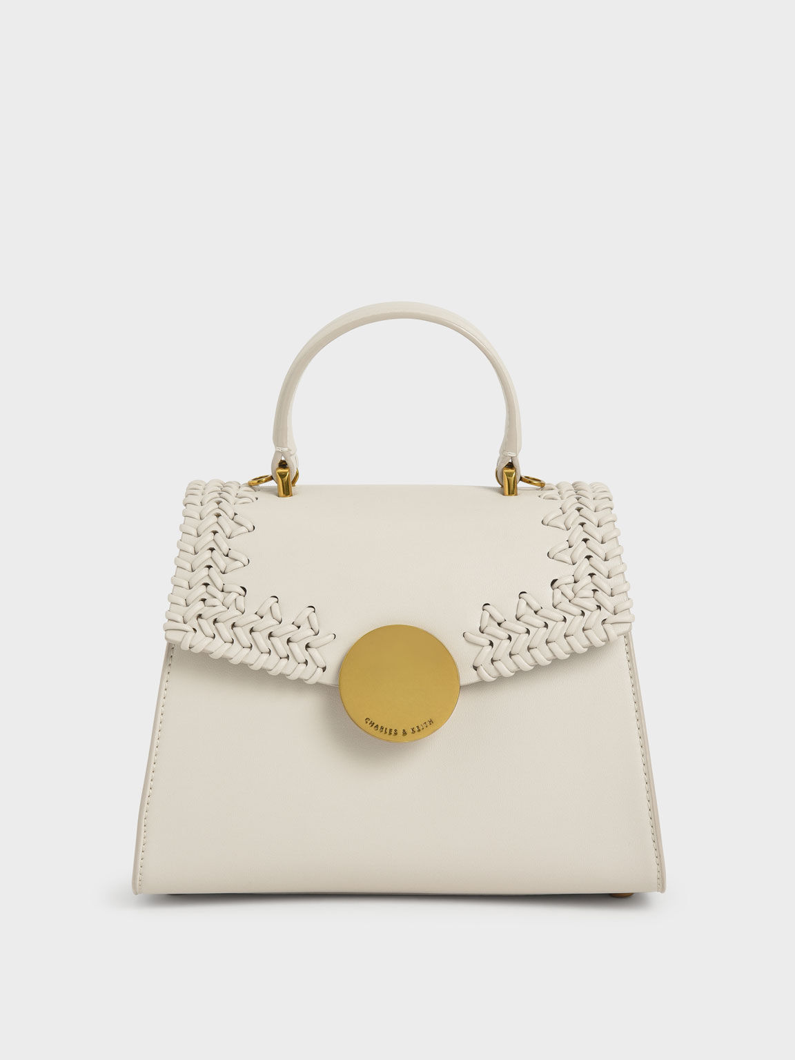 Woven Top Handle Bag, Ivory, hi-res