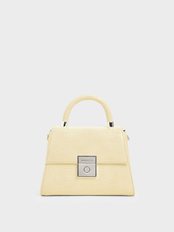 Croc-Effect Structured Sculptural Bag, Yellow, hi-res