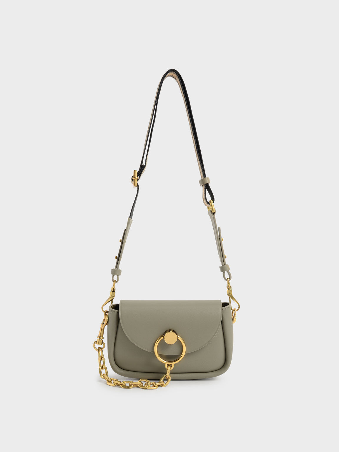 Chunky Chain-Link Crossbody Bag, Taupe, hi-res