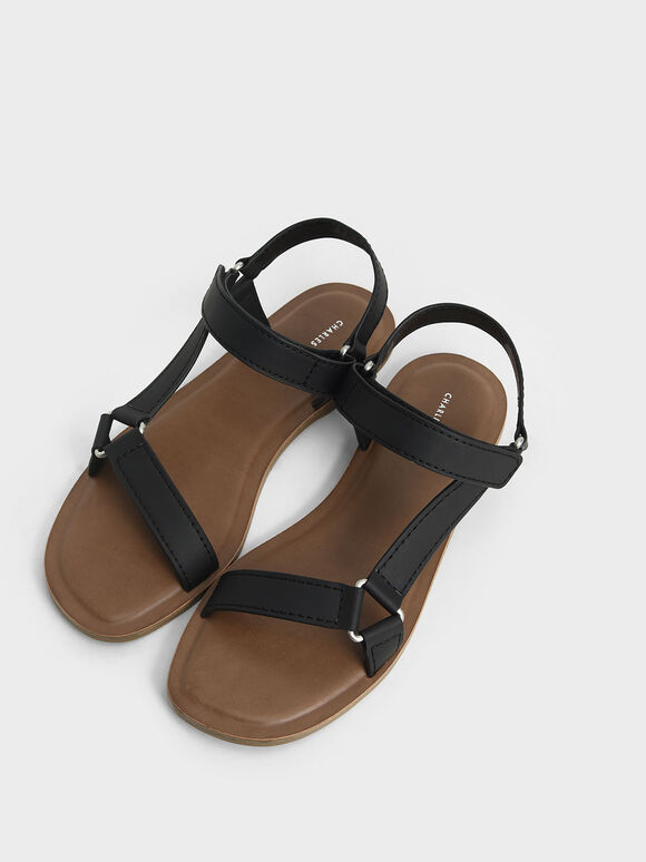 Asymmetric Strap Sandals, Black, hi-res