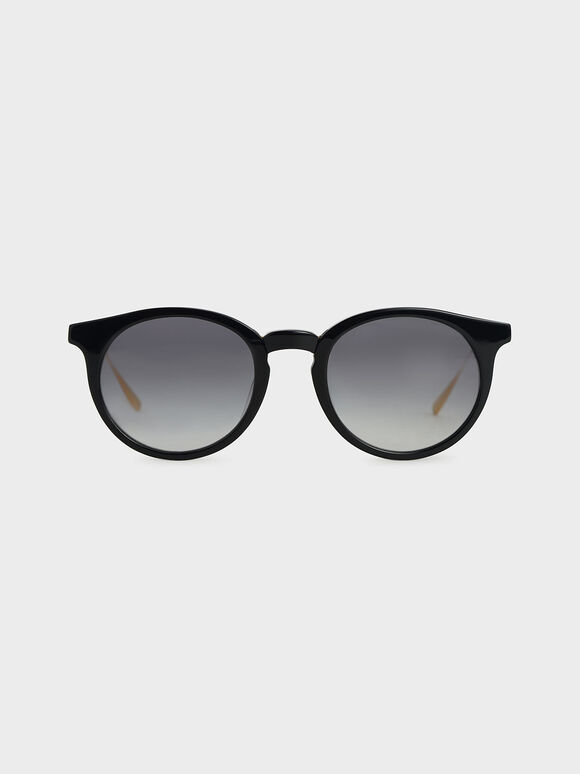 Round Acetate Sunglasses, Black, hi-res