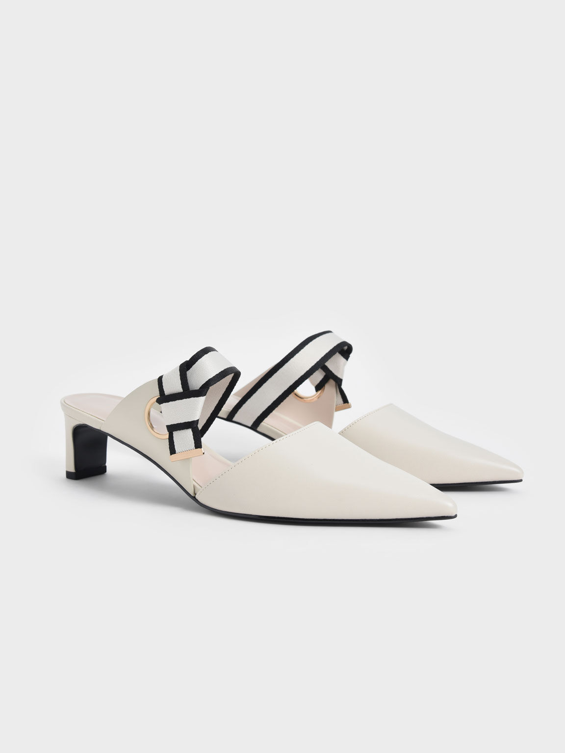 Knotted Fabric Strap Pointed Mules, Chalk, hi-res