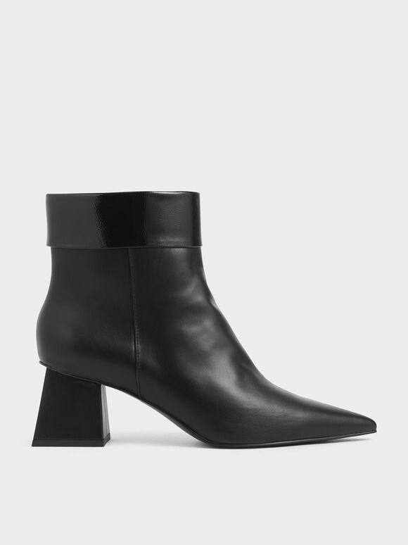 Wrinkled Patent Ankle Boots, Black, hi-res