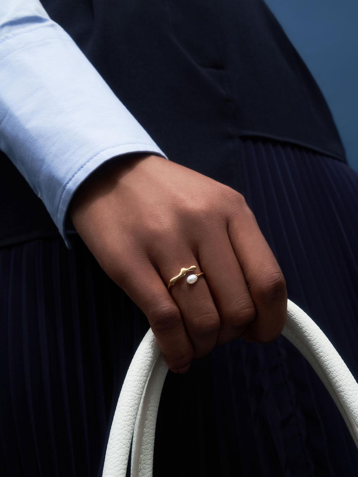 Sculpted Open Ring, Brush Gold, hi-res