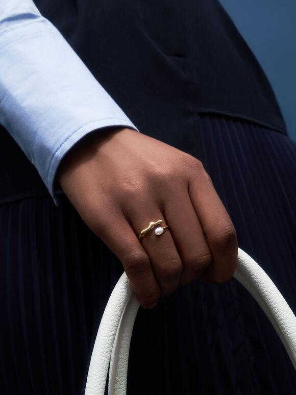 流動金屬戒指, 粉金色, hi-res