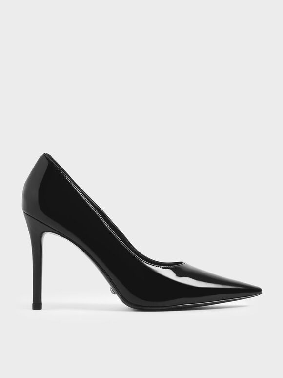 Patent Leather Pointed Toe Stiletto Pumps, Black, hi-res