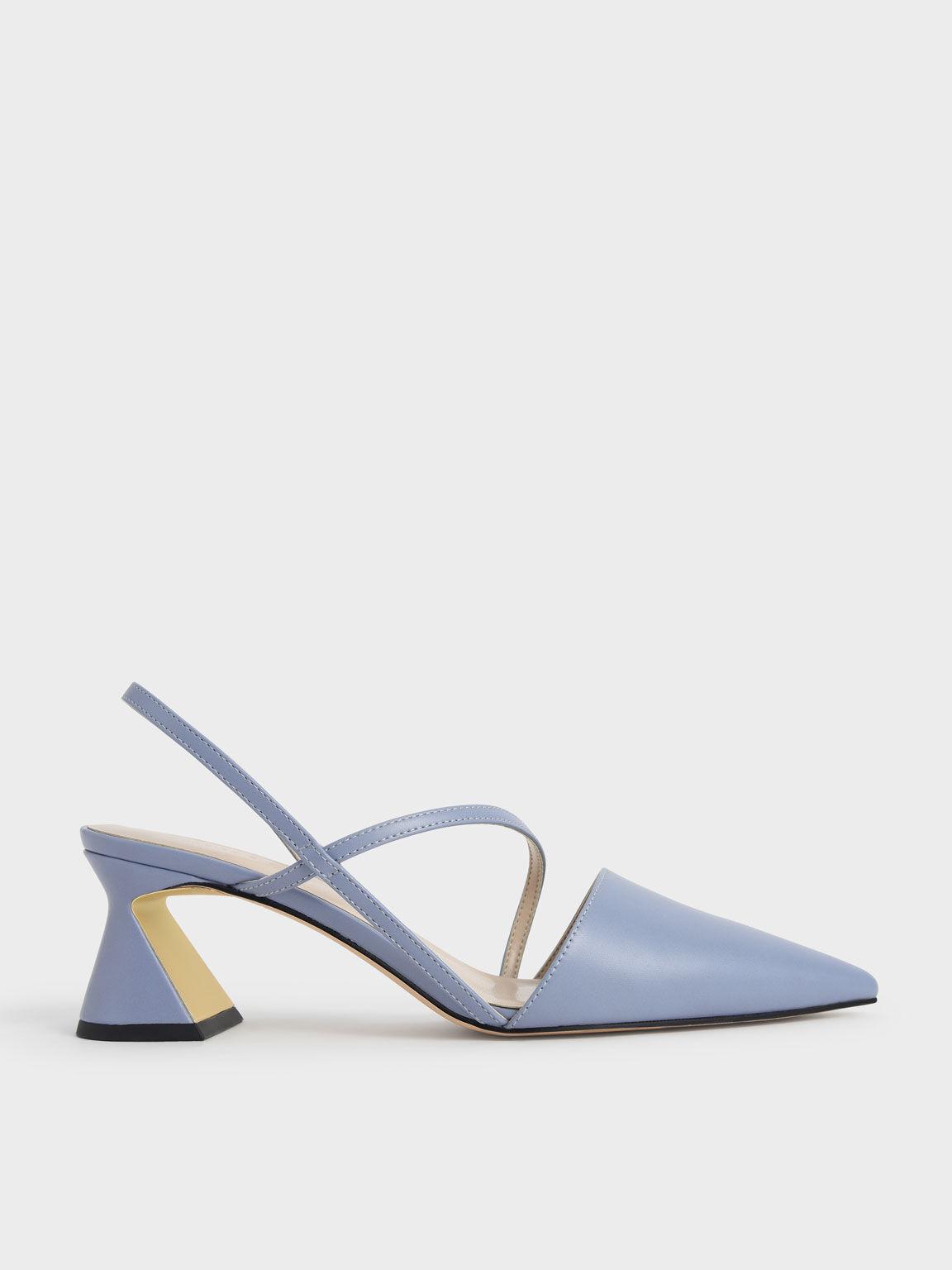 Asymmetric Strap Geometric Heel Pumps, Light Blue, hi-res