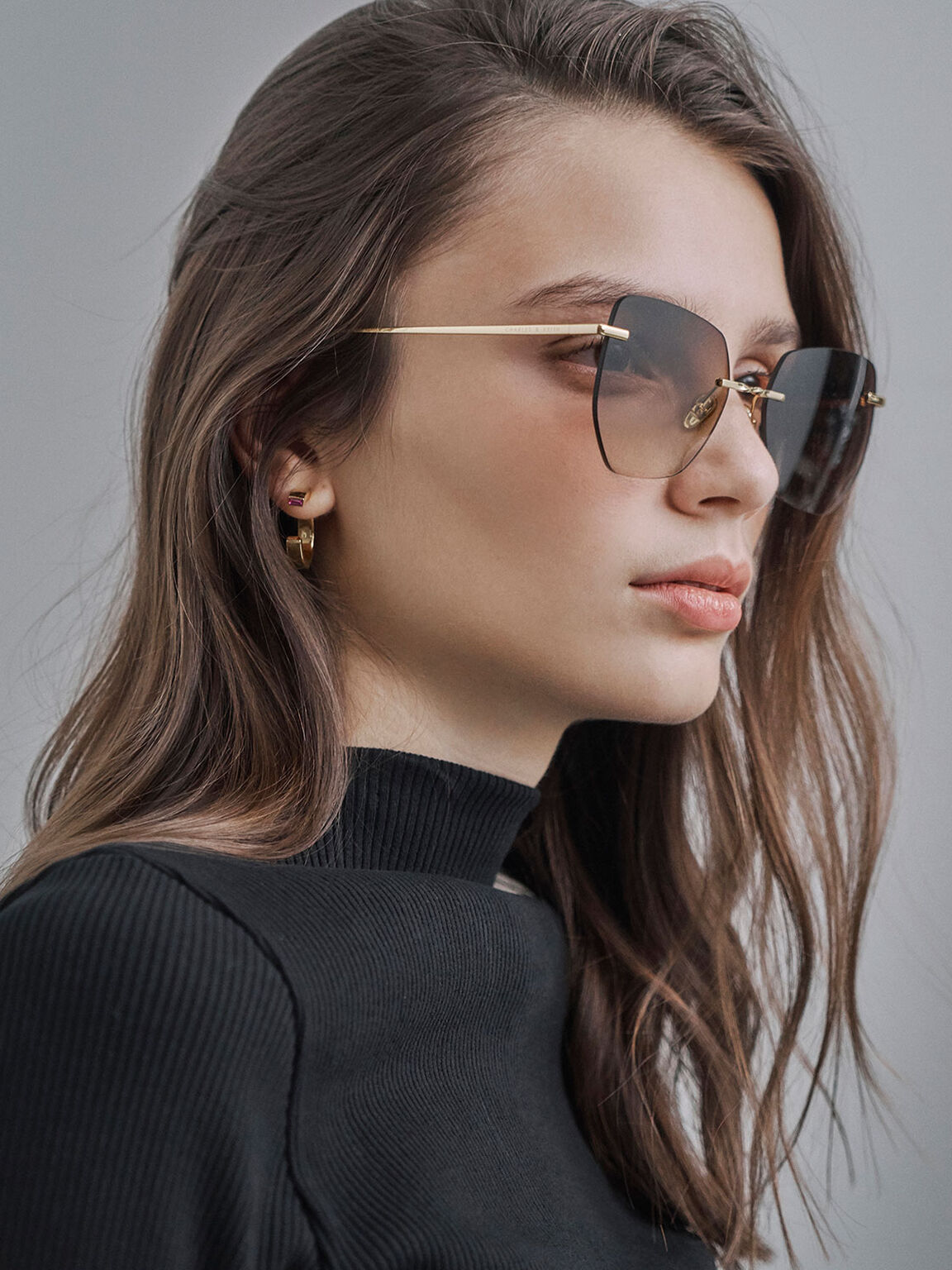 Rimless Butterfly Sunglasses, Brown, hi-res
