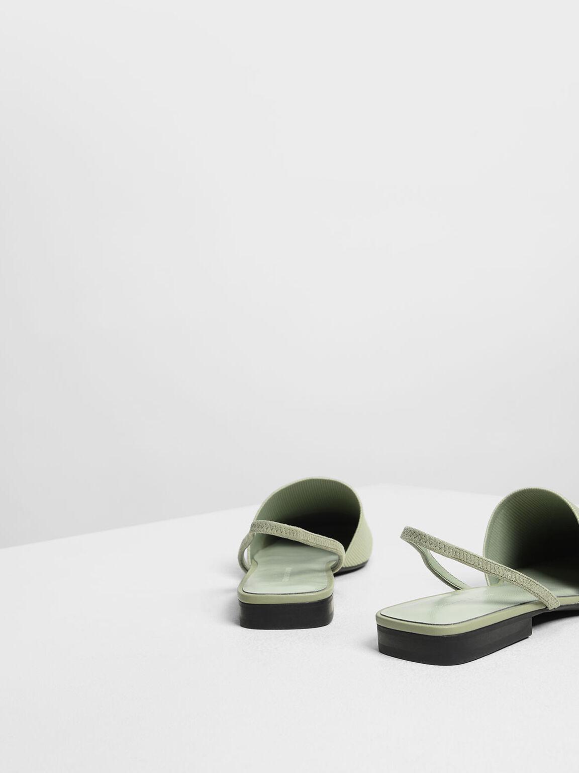 彈力針織平底鞋, 灰綠色, hi-res