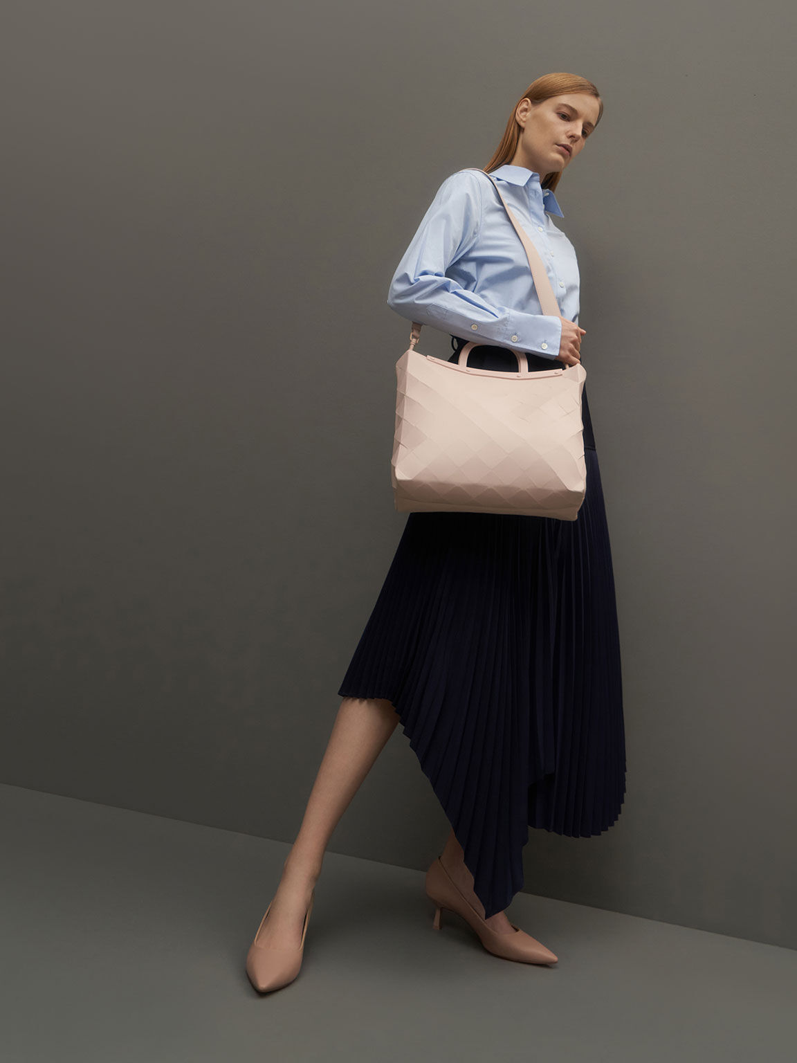 Double Handle Large Geometric Tote, Light Pink, hi-res