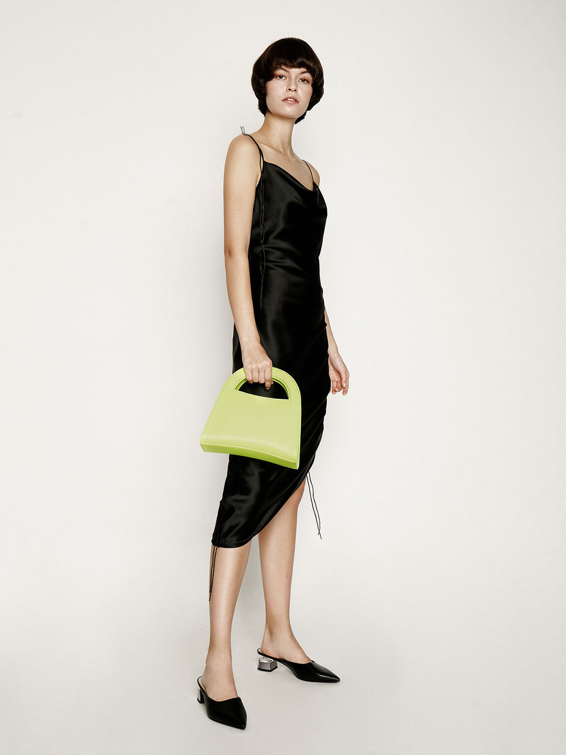 Double Top Handle Handbag, Neon Yellow, hi-res