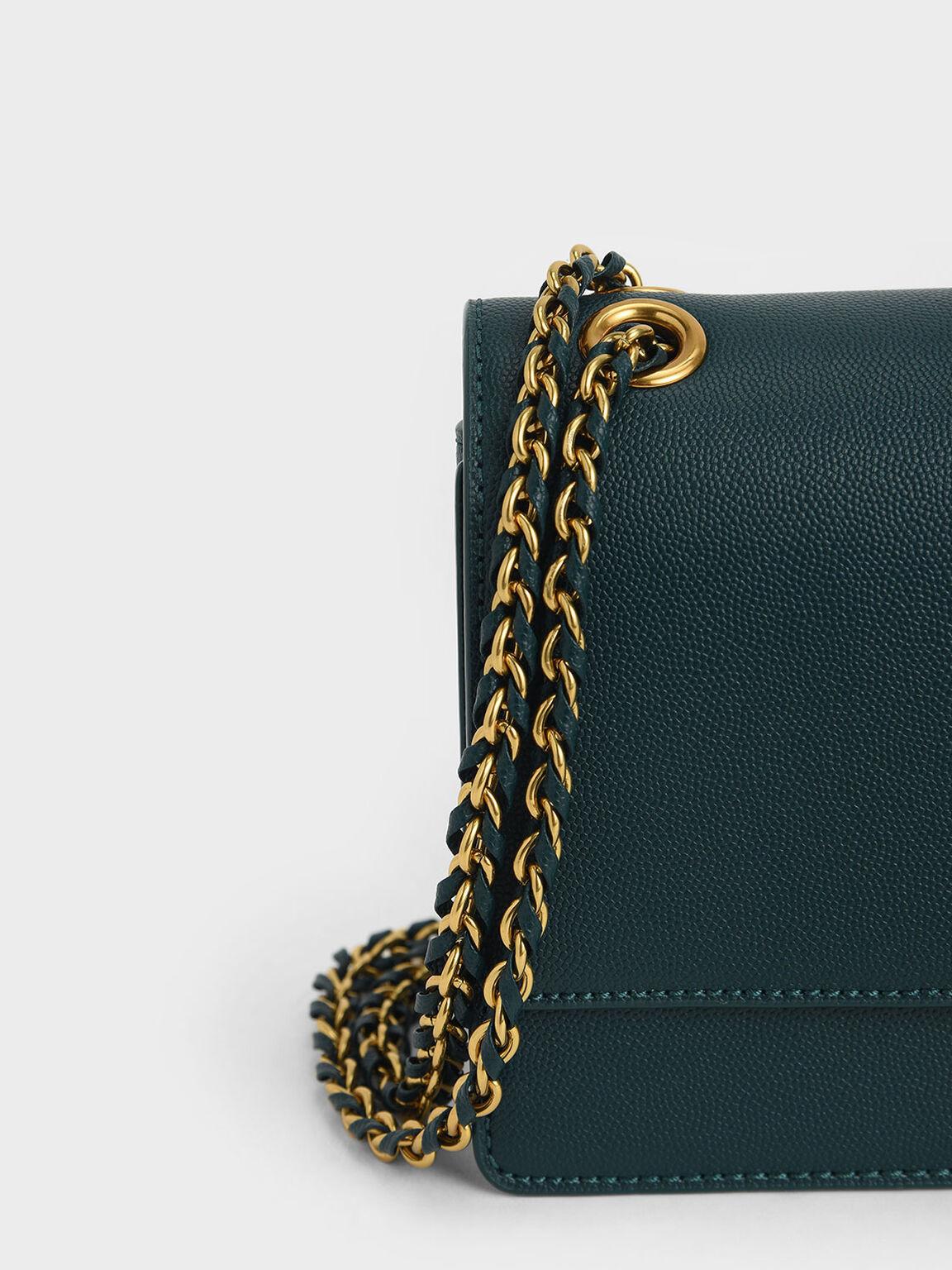 Chain Strap Push-Lock Shoulder Bag, Green, hi-res