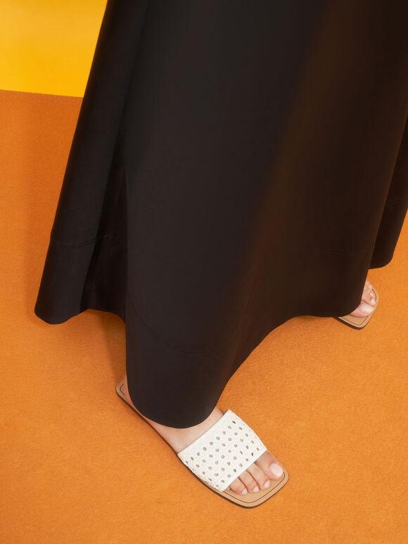 Woven Slide Sandals, White, hi-res